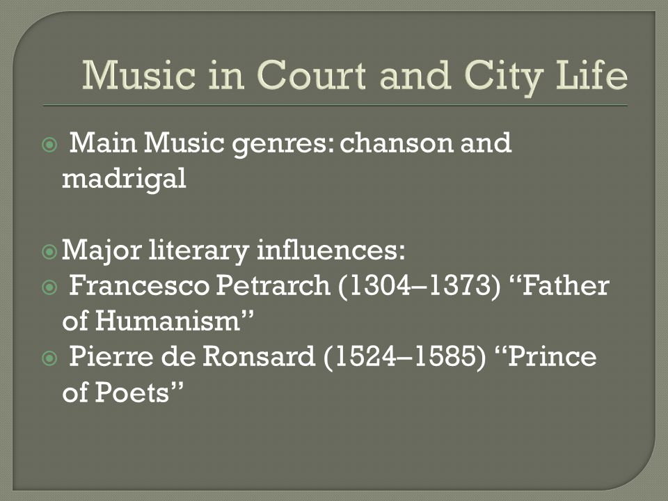 Music in Court and City Life