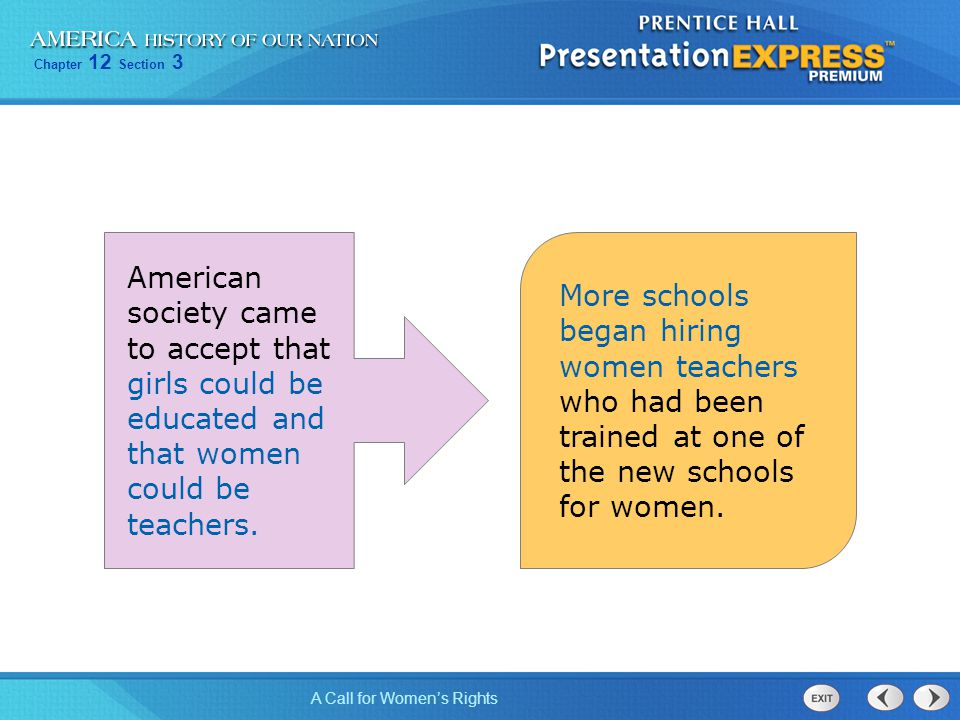 American society came to accept that girls could be educated and that women could be teachers.