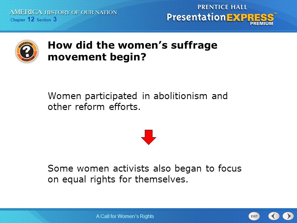 How did the women's suffrage movement begin
