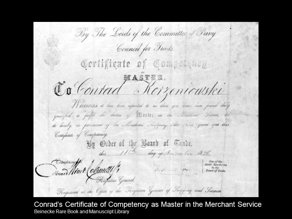 Conrad's Certificate of Competency as Master in the Merchant Service