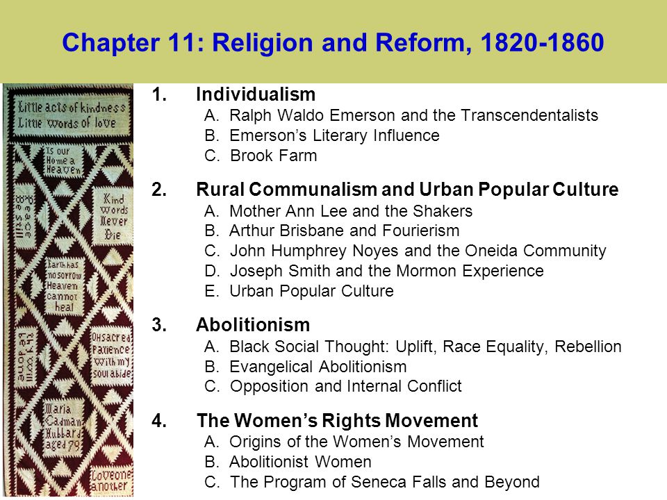 Chapter 11: Religion and Reform, 1820-1860