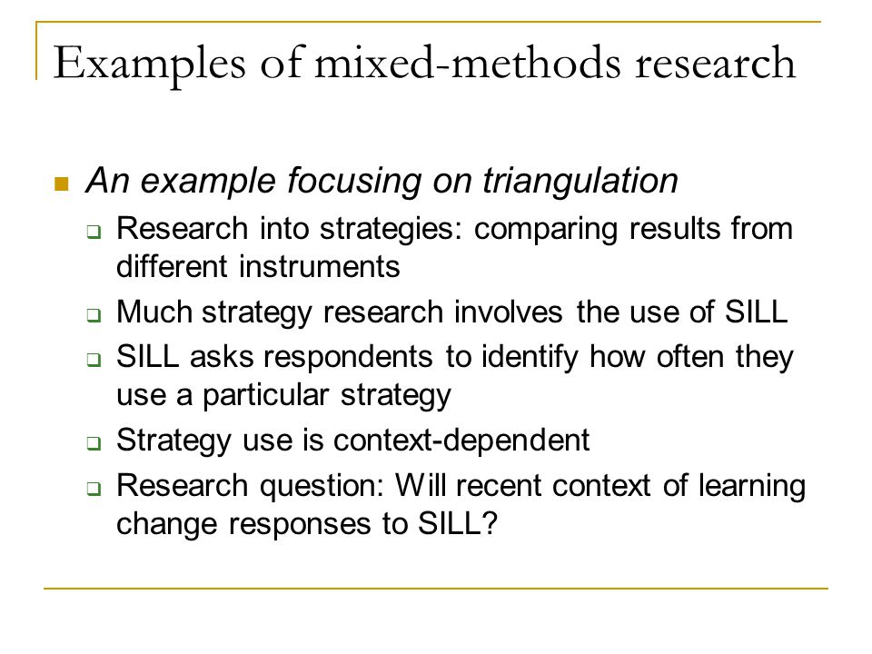 Examples of mixed-methods research