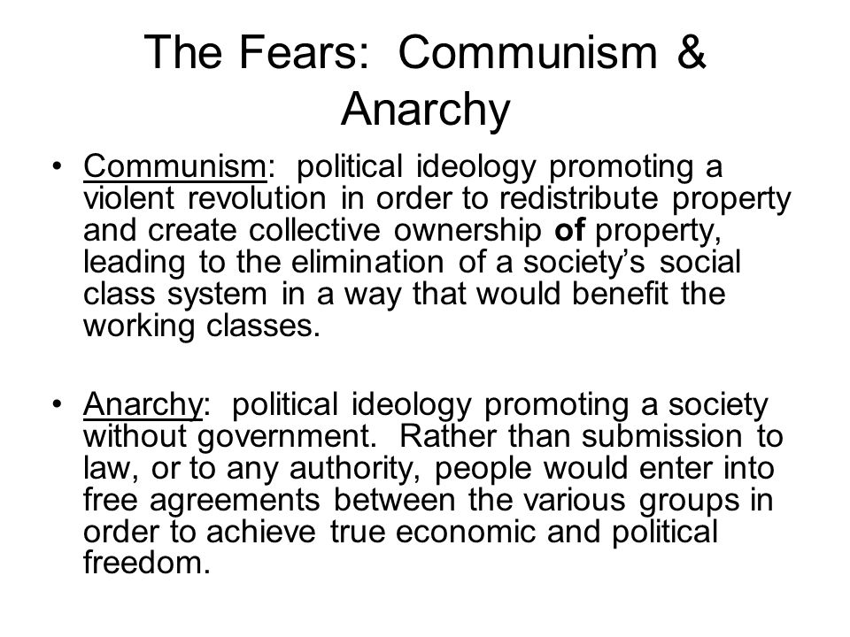 The Fears: Communism & Anarchy