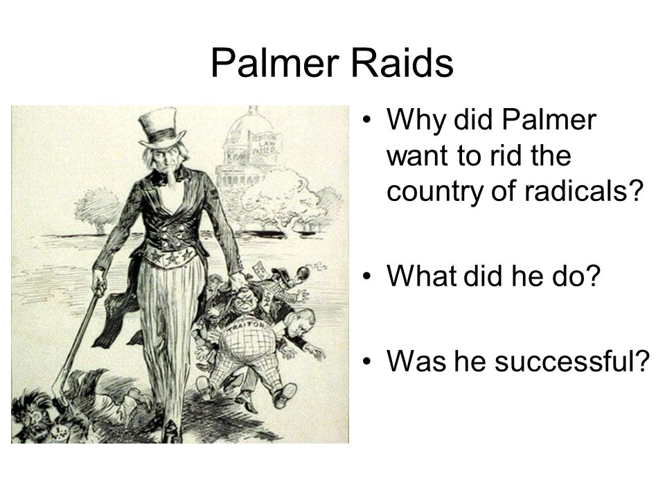 Palmer Raids Why did Palmer want to rid the country of radicals