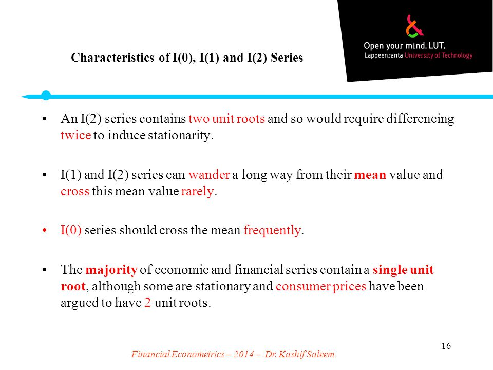 Characteristics of I(0), I(1) and I(2) Series