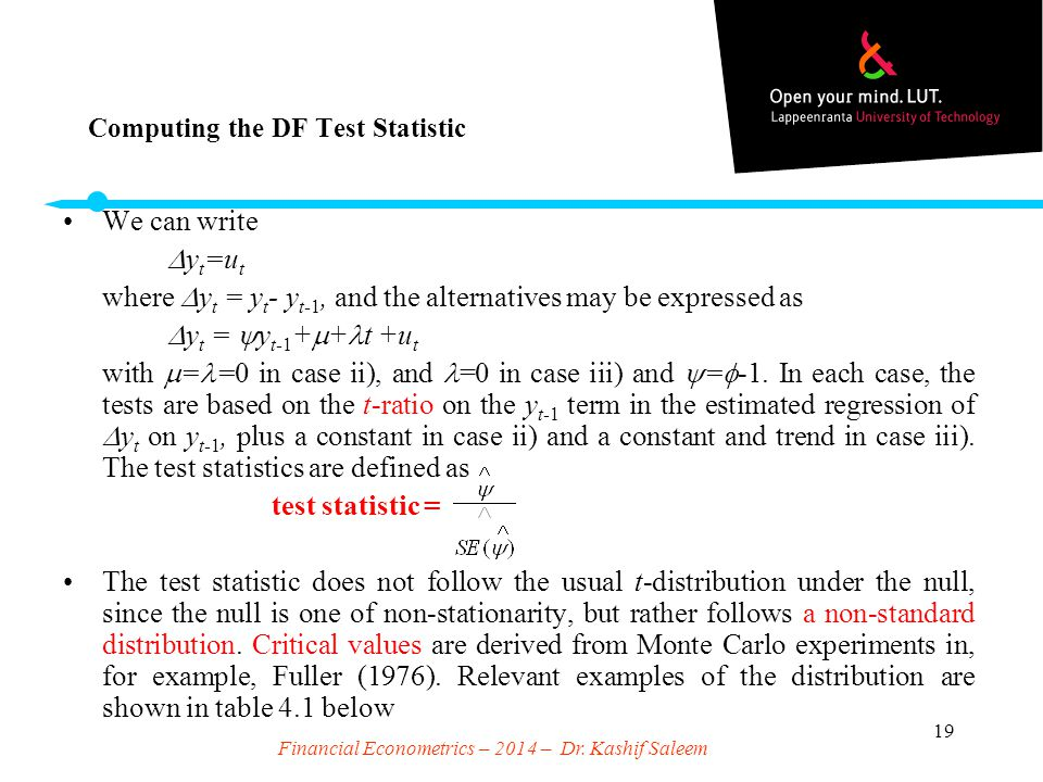 Computing the DF Test Statistic