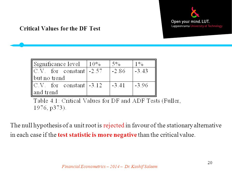 Critical Values for the DF Test