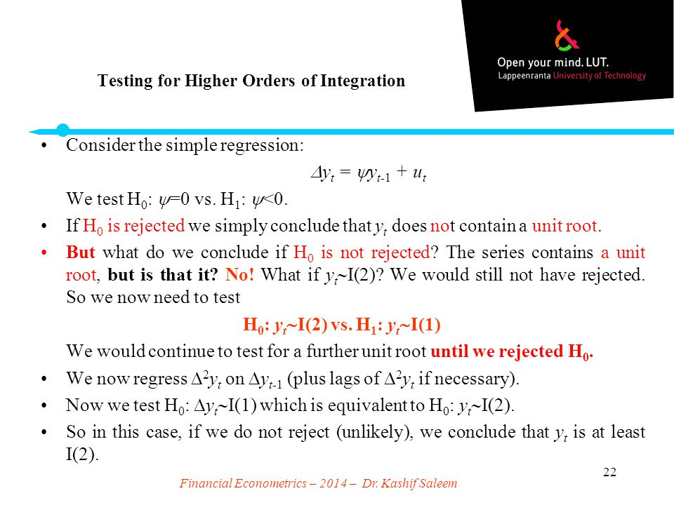Testing for Higher Orders of Integration