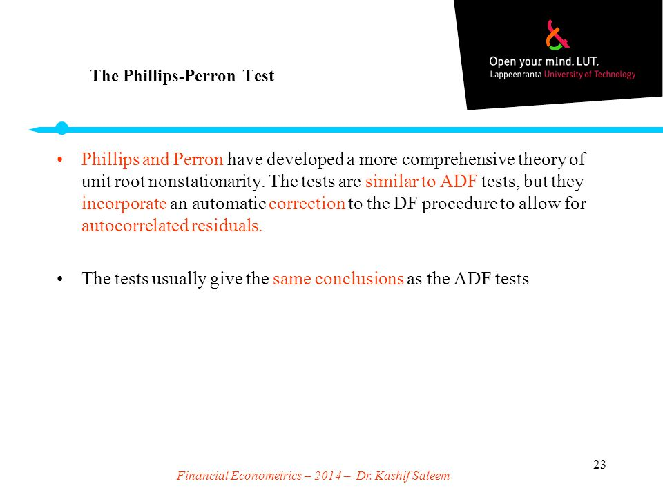 The Phillips-Perron Test