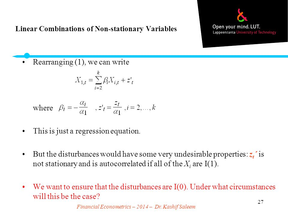 Linear Combinations of Non-stationary Variables