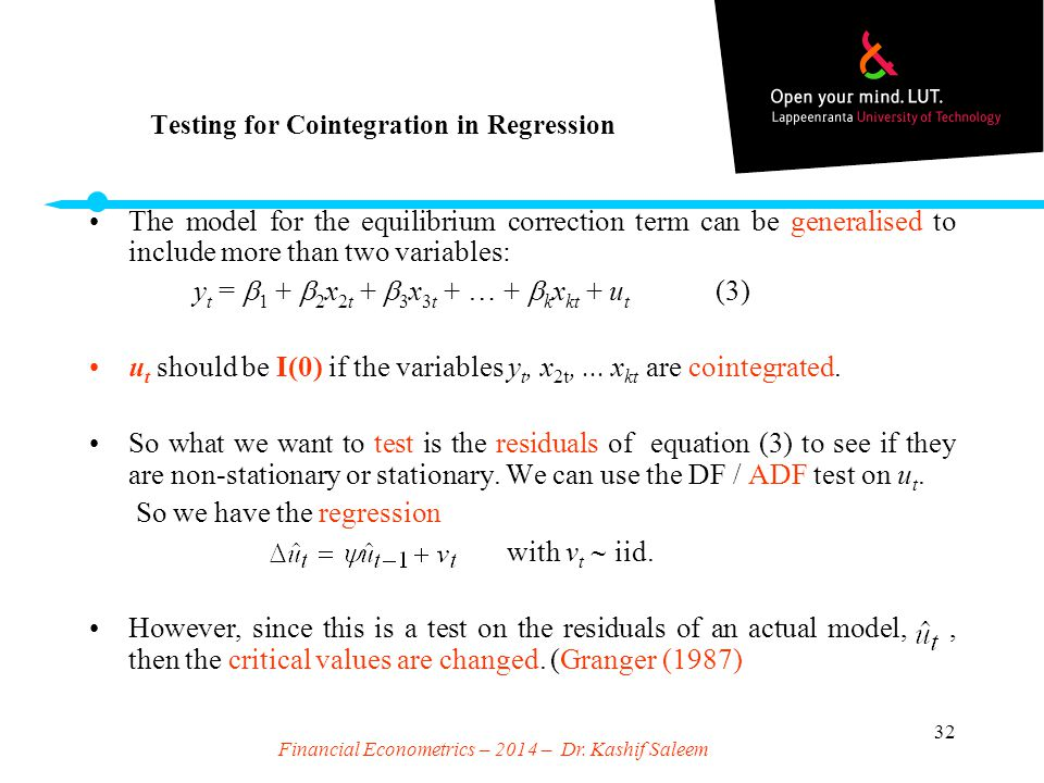 Testing for Cointegration in Regression