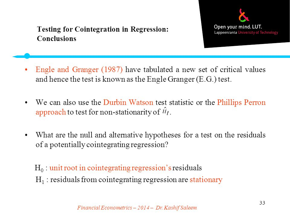 Testing for Cointegration in Regression: Conclusions