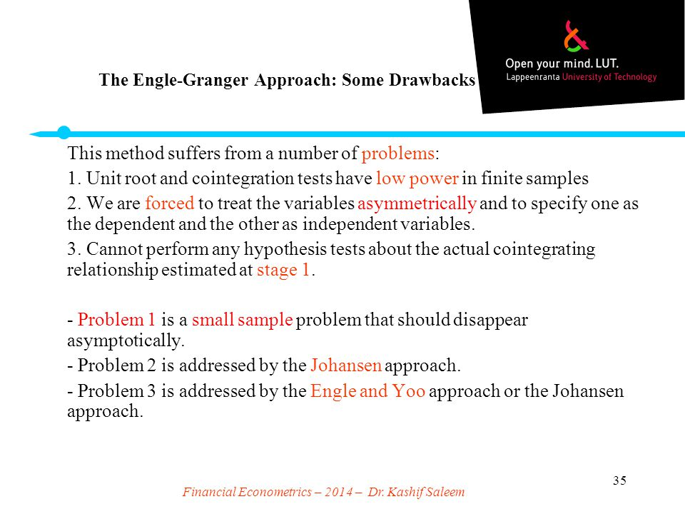 The Engle-Granger Approach: Some Drawbacks