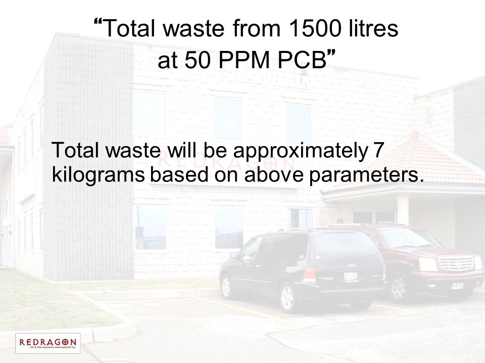 Total waste from 1500 litres at 50 PPM PCB