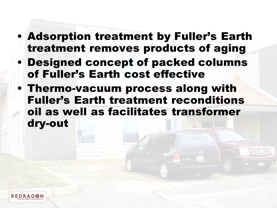 Adsorption treatment by Fuller's Earth treatment removes products of aging
