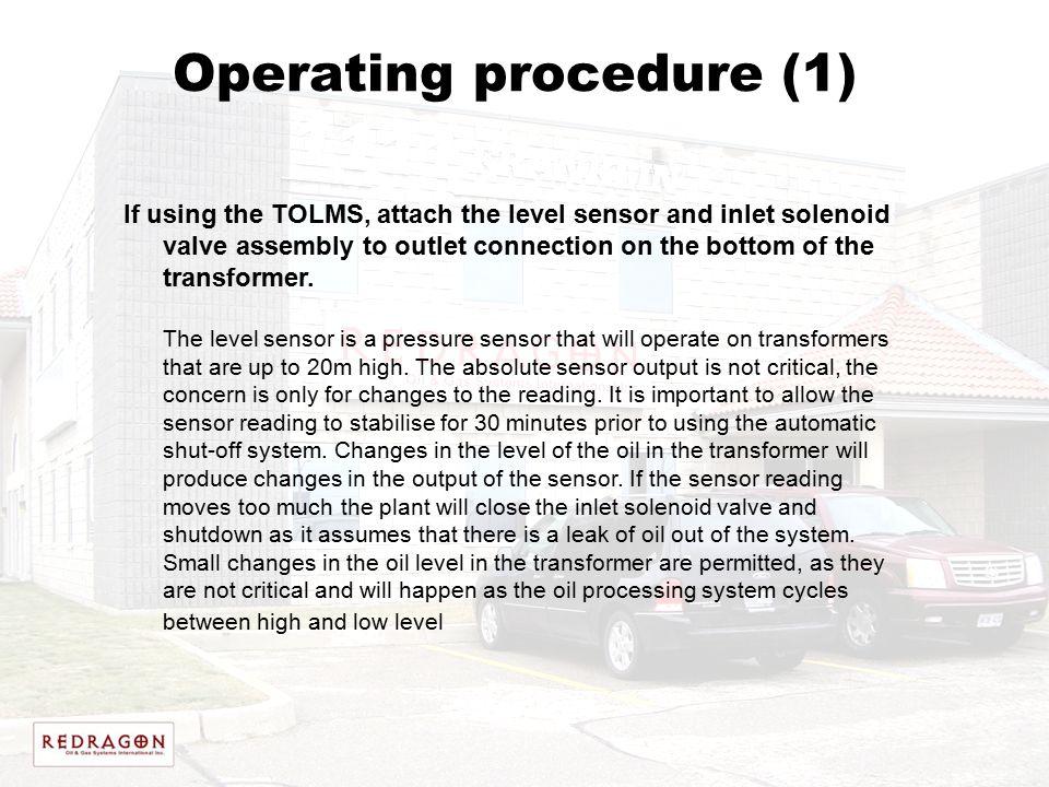 Operating procedure (1)