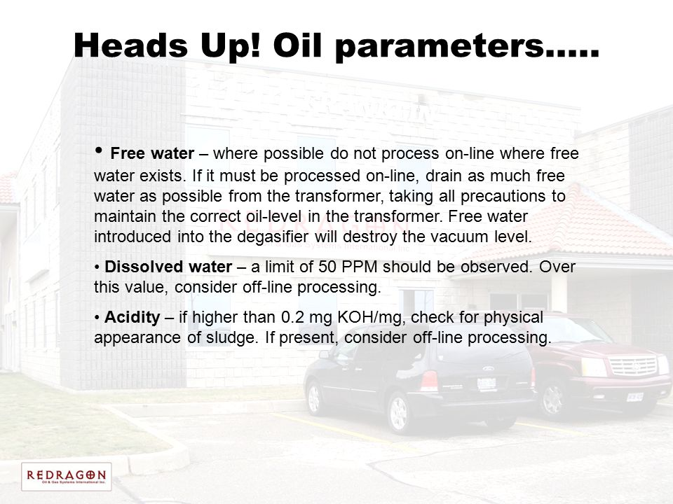 Heads Up! Oil parameters…..