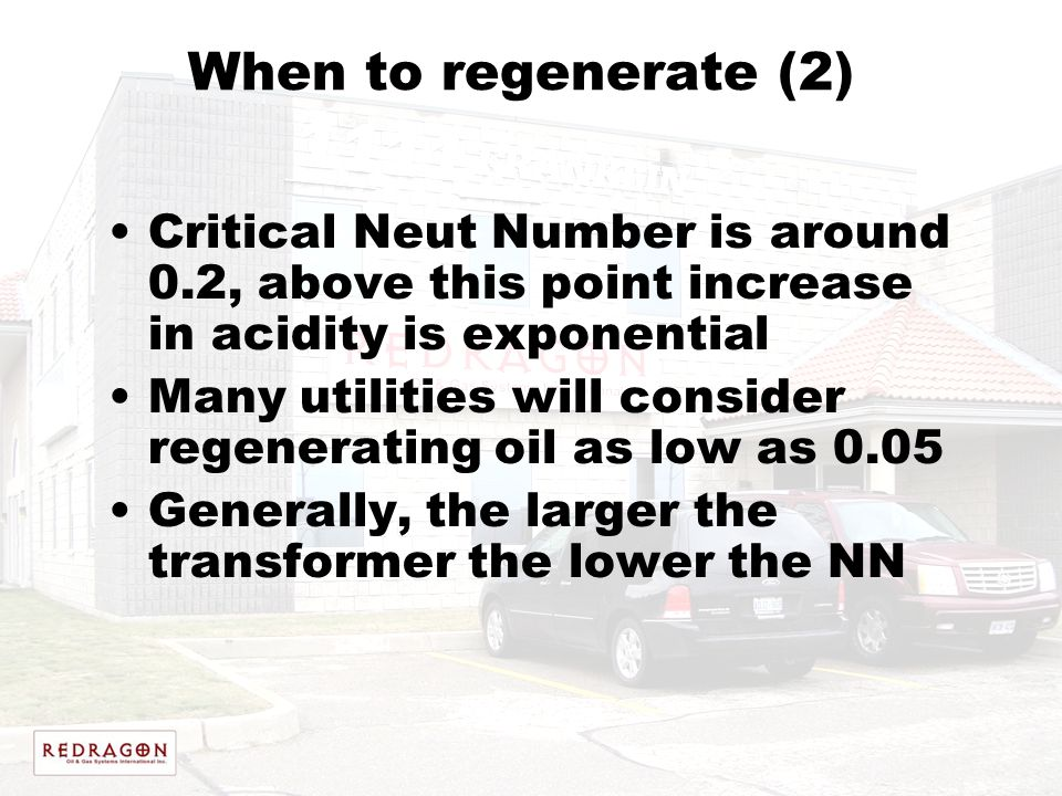 When to regenerate (2) Critical Neut Number is around 0.2, above this point increase in acidity is exponential.
