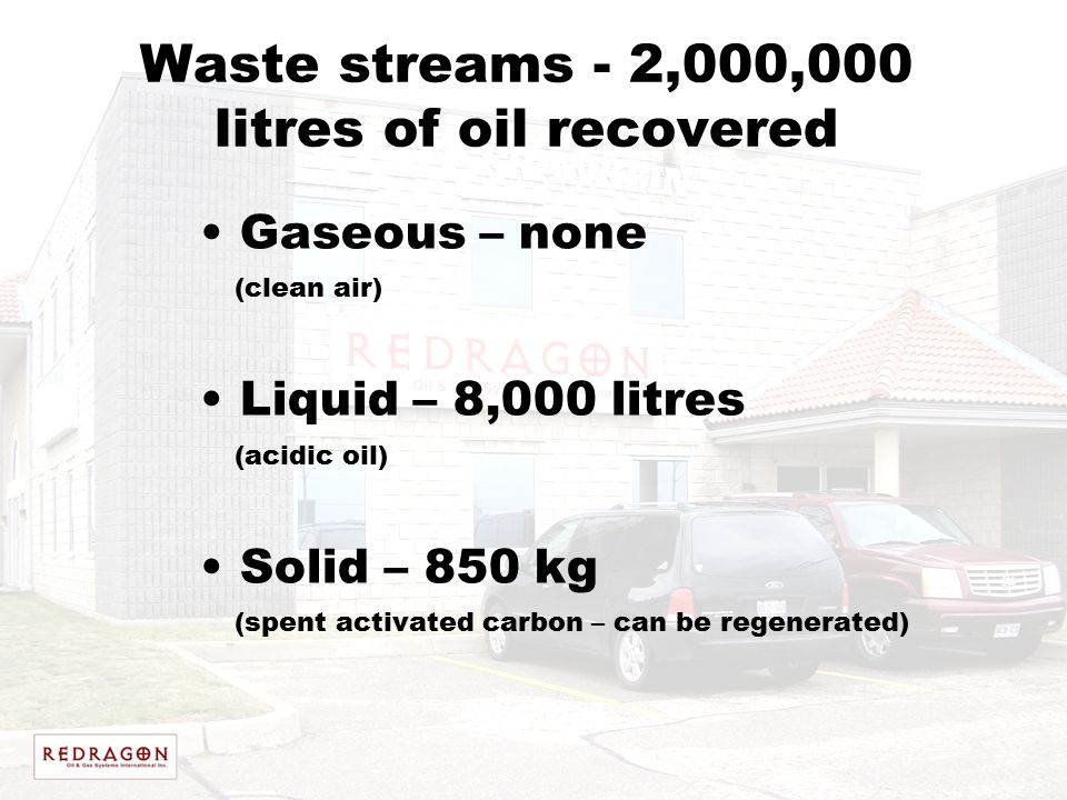 Waste streams - 2,000,000 litres of oil recovered