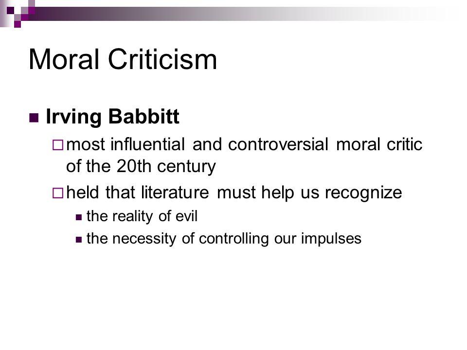 Moral Criticism Irving Babbitt