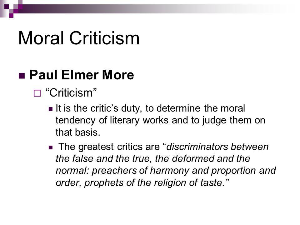 Moral Criticism Paul Elmer More Criticism