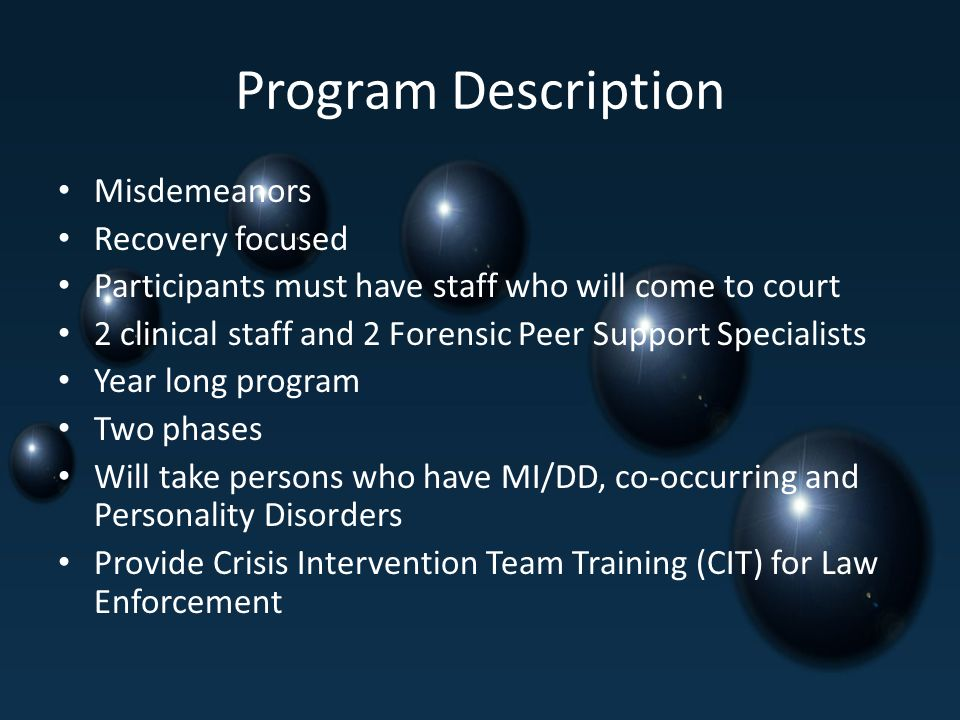 Program Description Misdemeanors Recovery focused