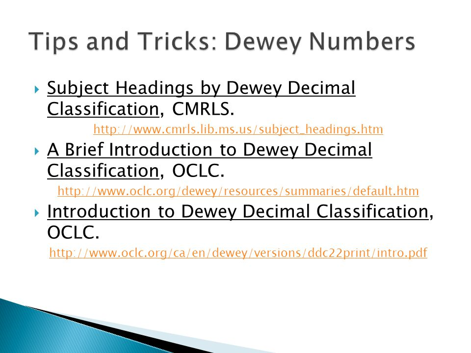 Tips and Tricks: Dewey Numbers