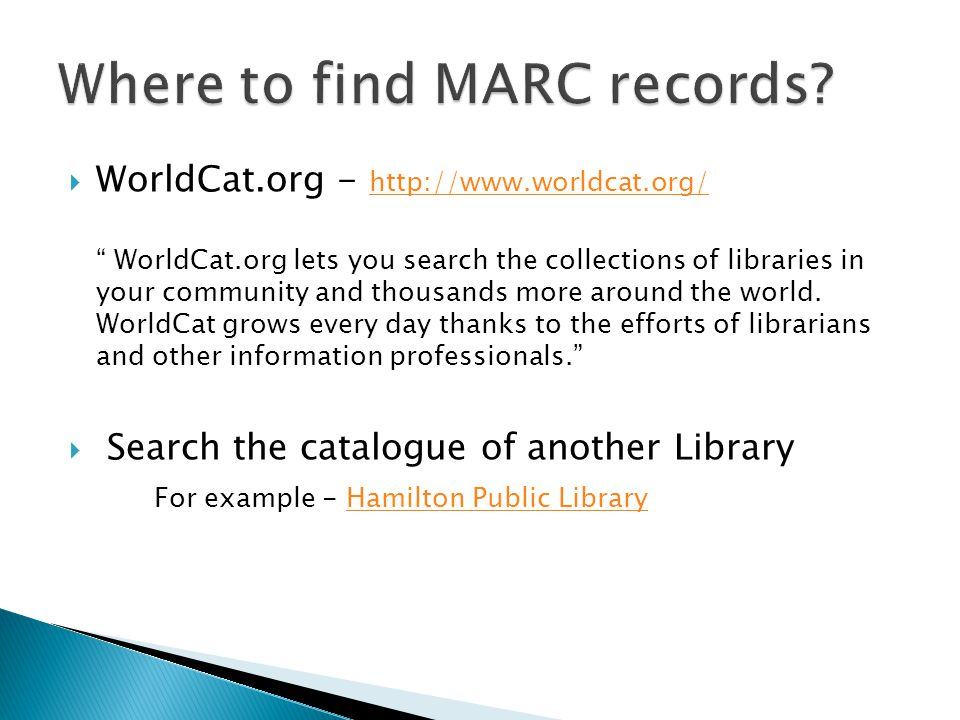 Where to find MARC records