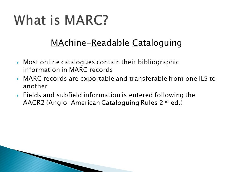 MAchine-Readable Cataloguing