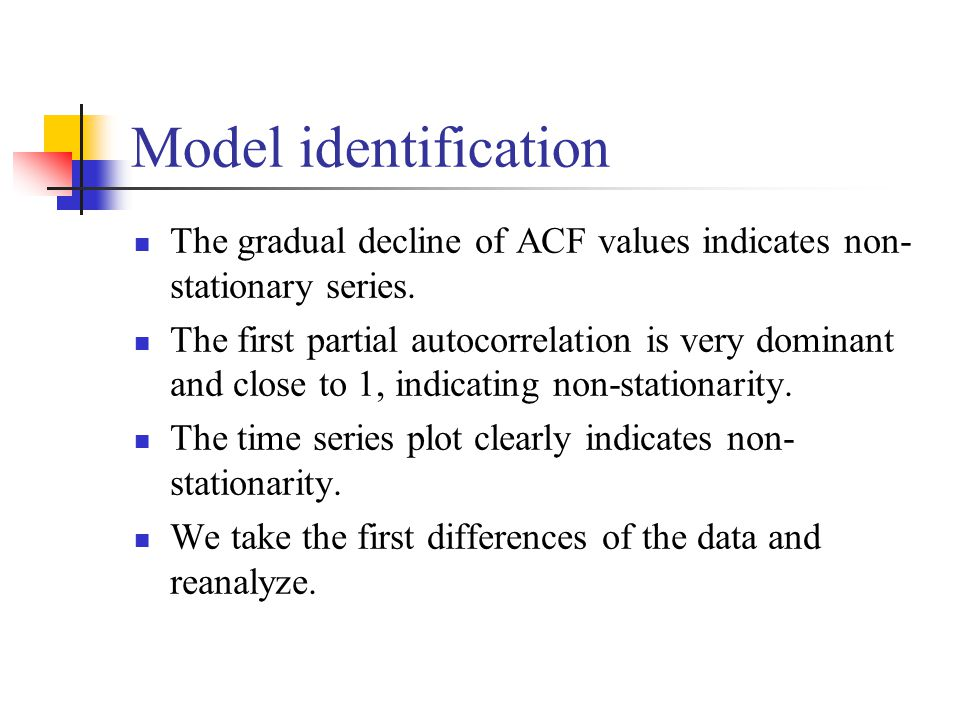 Model identification The gradual decline of ACF values indicates non-stationary series.