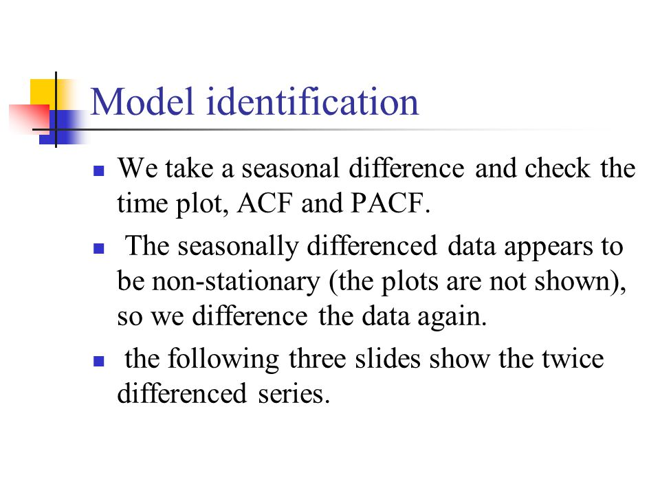 Model identification We take a seasonal difference and check the time plot, ACF and PACF.