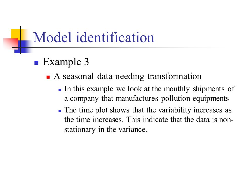 Model identification Example 3 A seasonal data needing transformation
