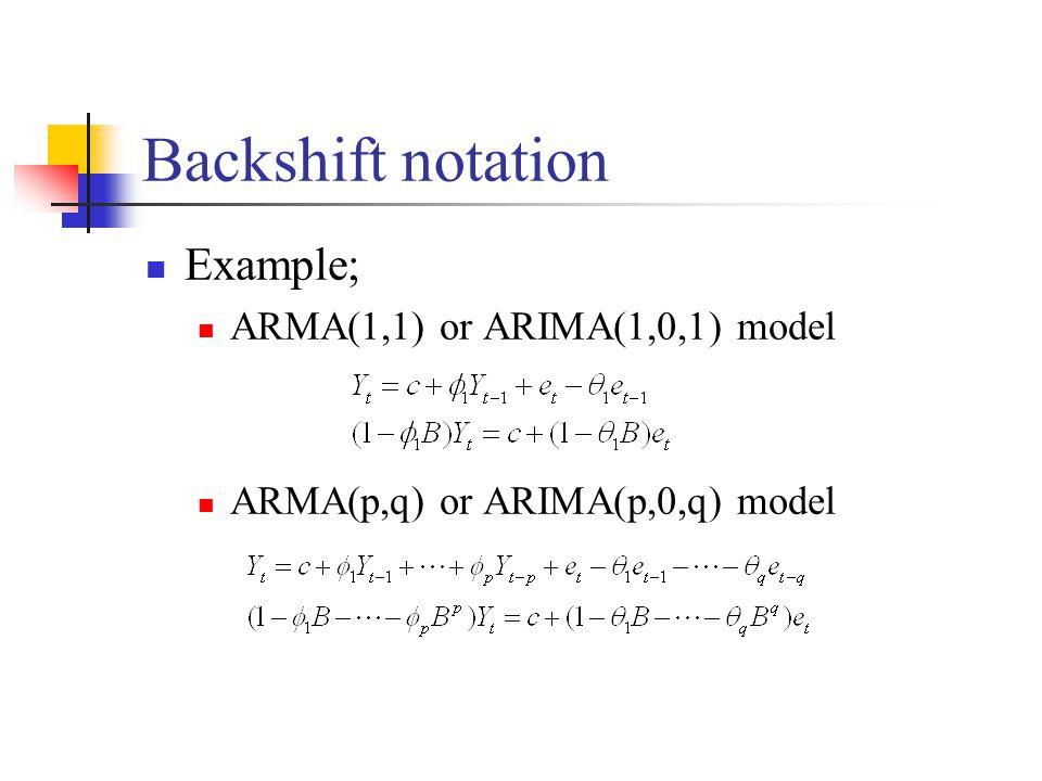 Backshift notation Example; ARMA(1,1) or ARIMA(1,0,1) model