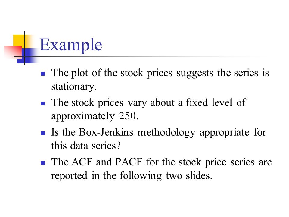 Example The plot of the stock prices suggests the series is stationary. The stock prices vary about a fixed level of approximately 250.