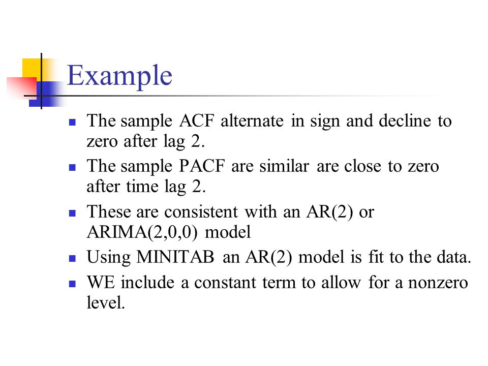 Example The sample ACF alternate in sign and decline to zero after lag 2. The sample PACF are similar are close to zero after time lag 2.