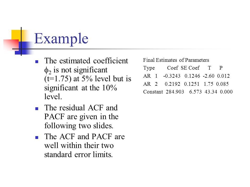 Example The estimated coefficient 2 is not significant (t=1.75) at 5% level but is significant at the 10% level.