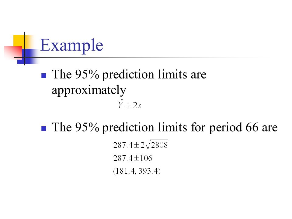 Example The 95% prediction limits are approximately
