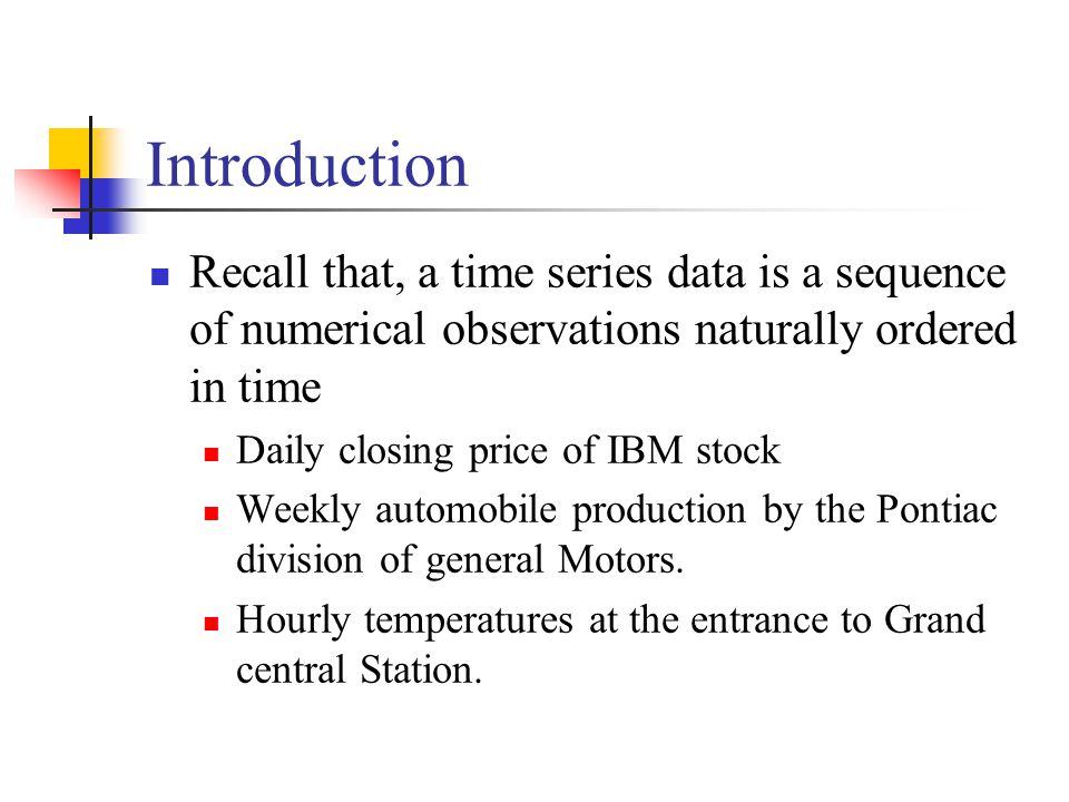 Introduction Recall that, a time series data is a sequence of numerical observations naturally ordered in time.