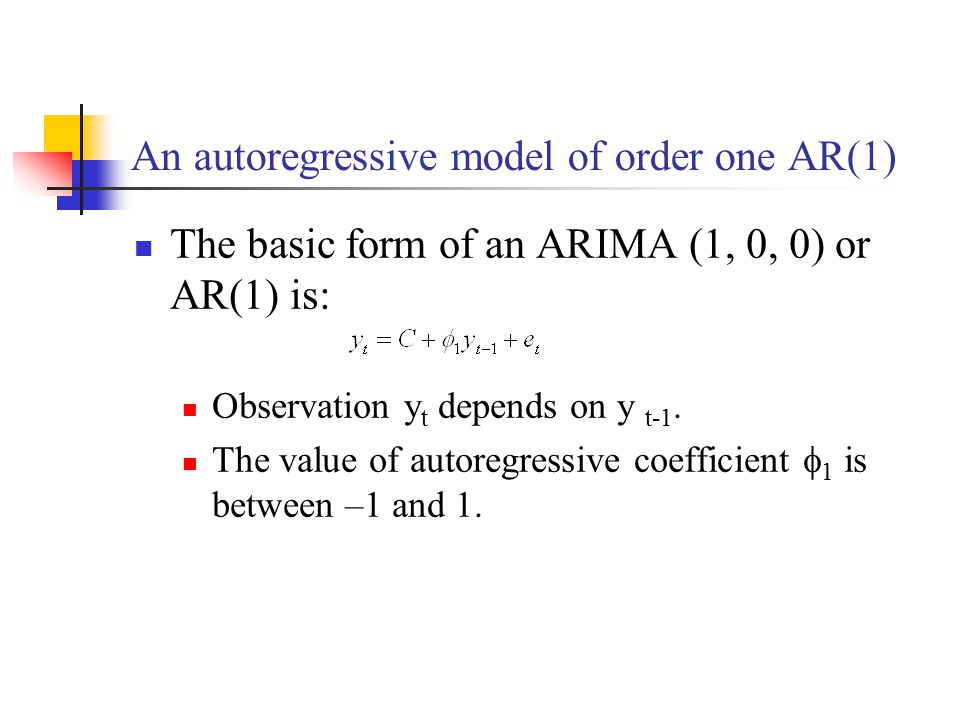An autoregressive model of order one AR(1)