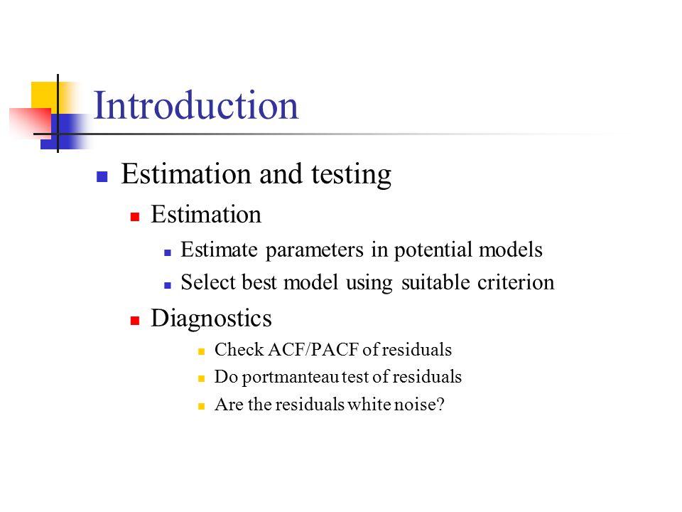 Introduction Estimation and testing Estimation Diagnostics