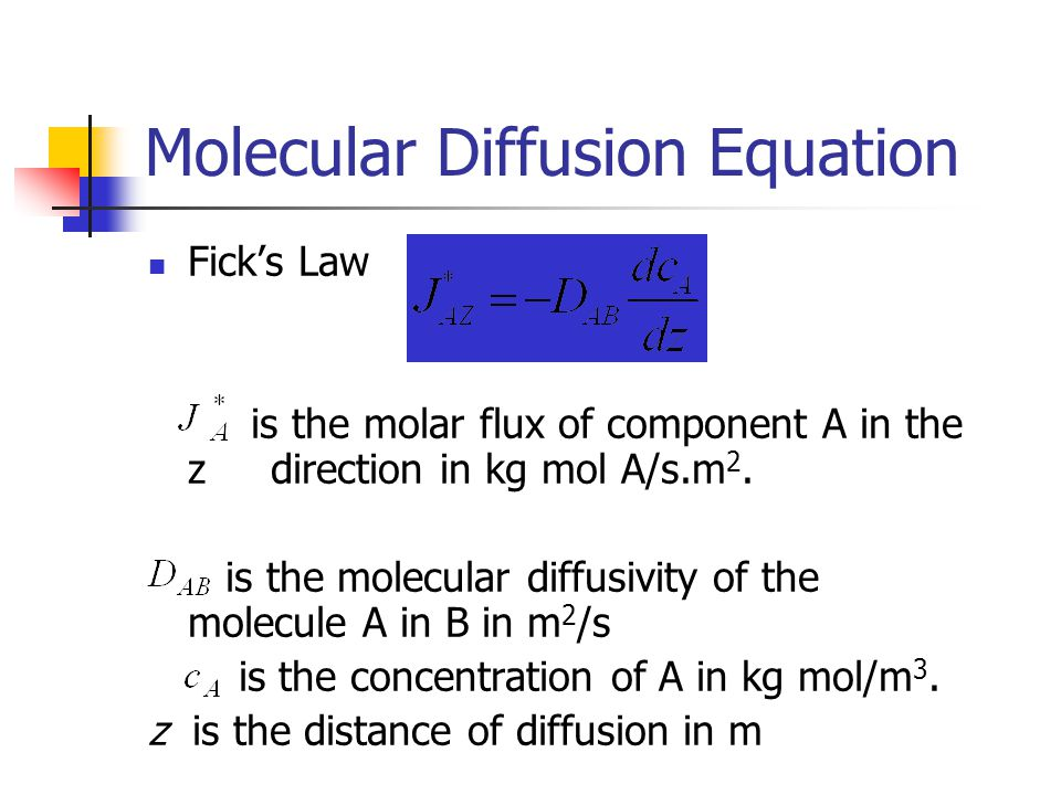 Molecular Diffusion Equation