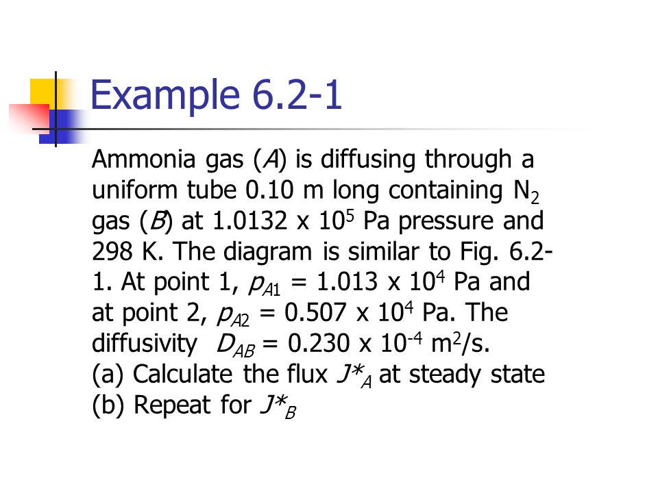 Example 6.2-1 Ammonia gas (A) is diffusing through a