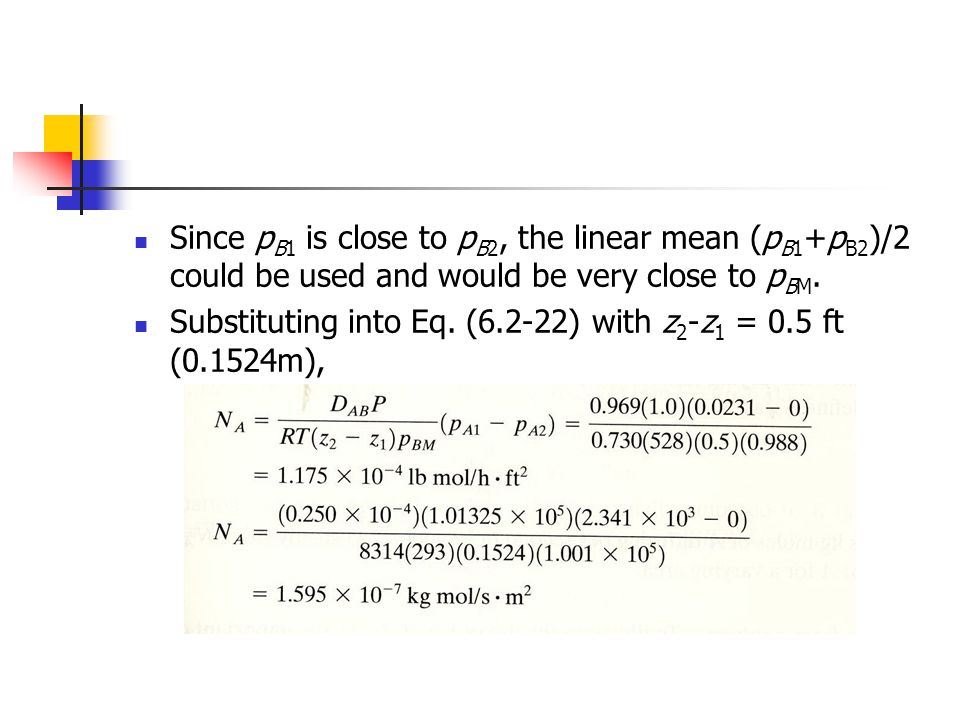 Since pB1 is close to pB2, the linear mean (pB1+pB2)/2 could be used and would be very close to pBM.