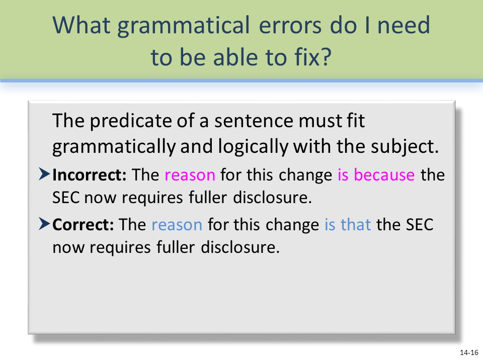 What grammatical errors do I need to be able to fix