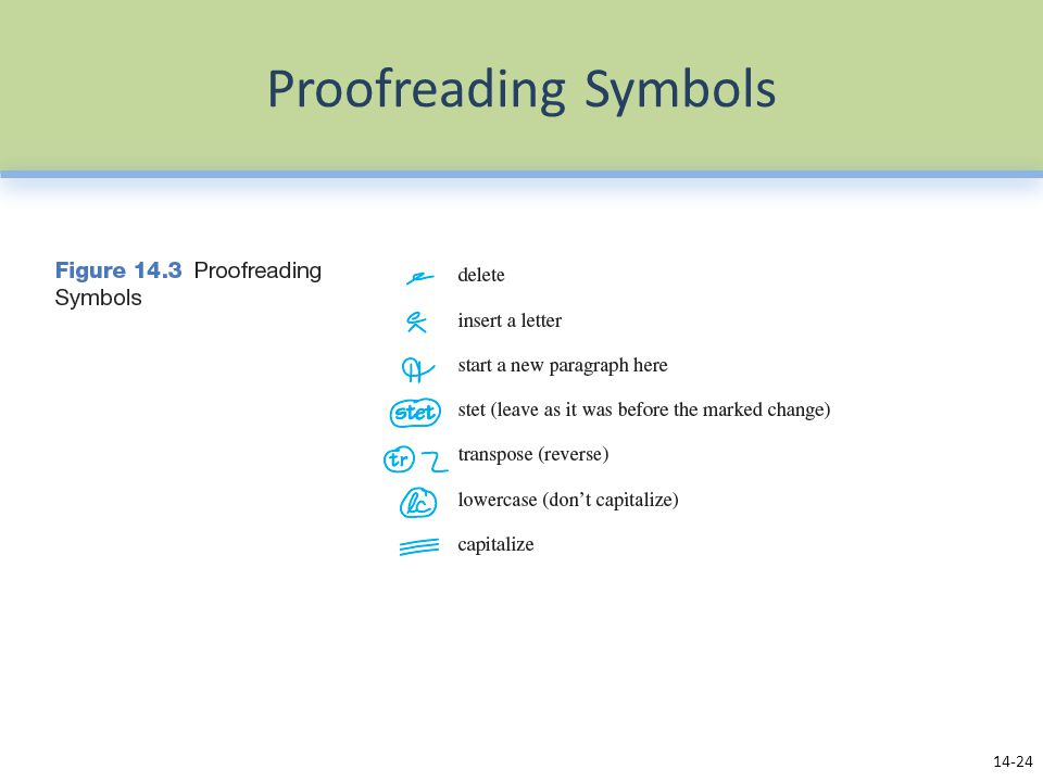 Proofreading Symbols Use the proofreading symbols in Figure 14.3 to make corrections when you no longer have access to a computer.