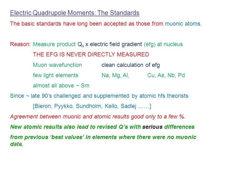 Electric Quadrupole Moments: The Standards