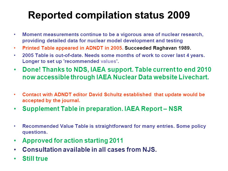 Reported compilation status 2009