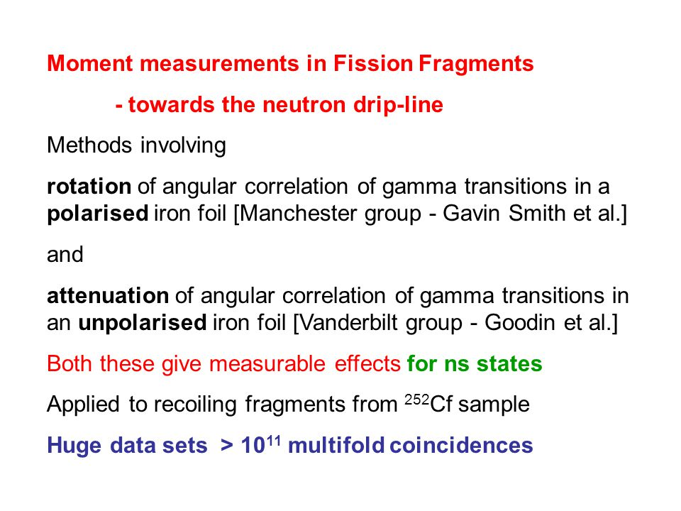 Moment measurements in Fission Fragments
