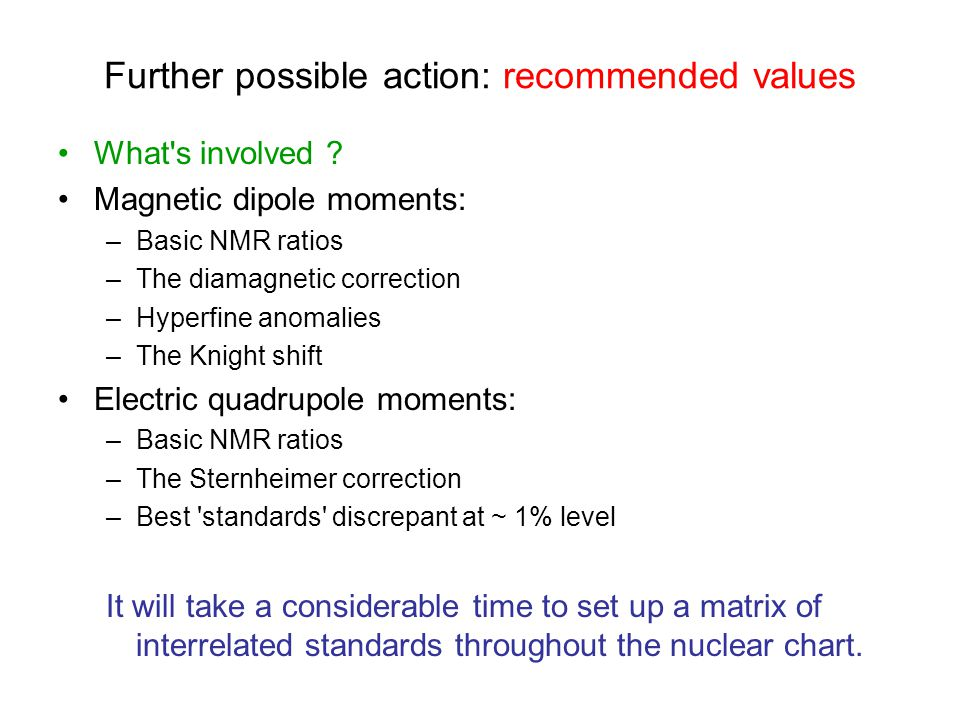 Further possible action: recommended values