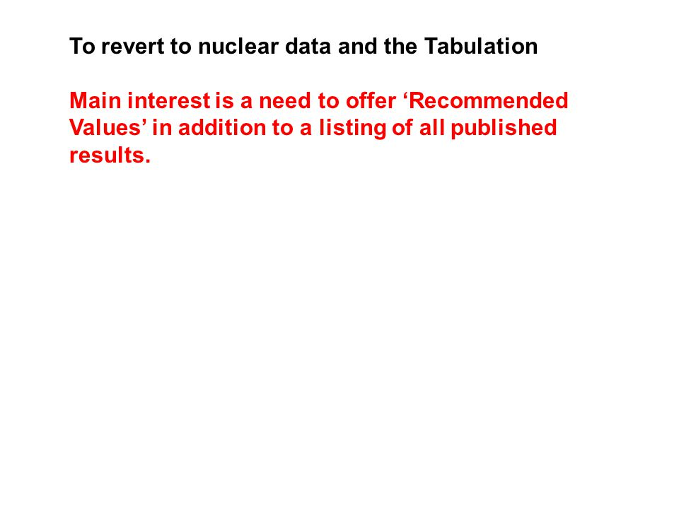 To revert to nuclear data and the Tabulation